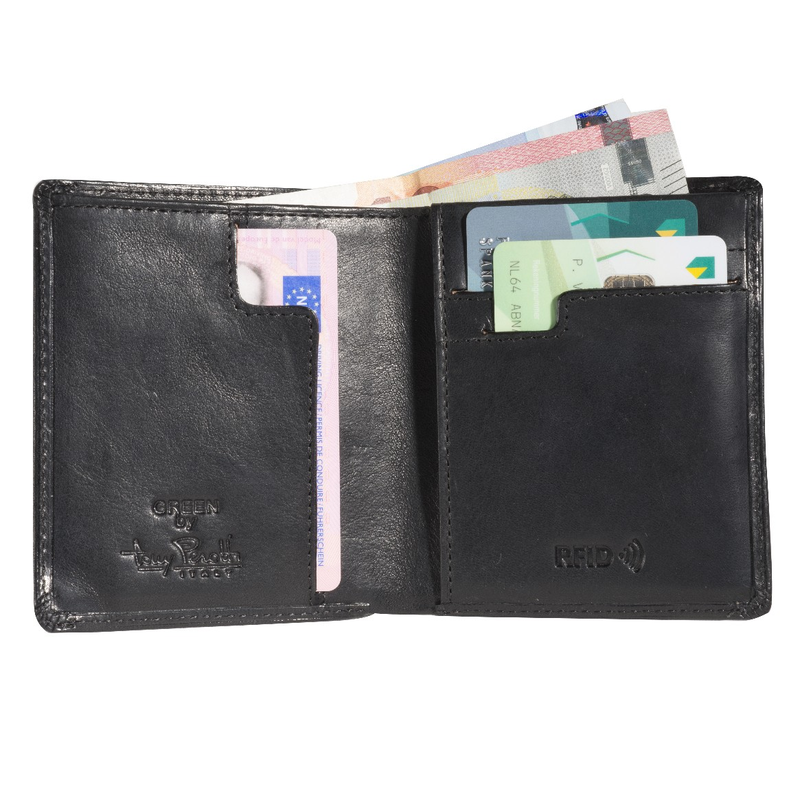 Tony Perotti Slim Vertical Billfold  with banknote and coin pocket and creditcard slot Black